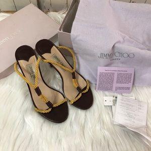 Jimmy Choo Yellow Cotton Rope Heels Sandal 6.5